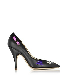 Black Leather Pumps w/Pins - Moschino