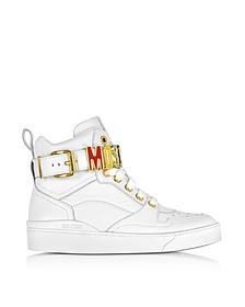 Sneakers Montantes en Cuir Blanc Optique avec Logo Signature en Métal Multicolore - Moschino
