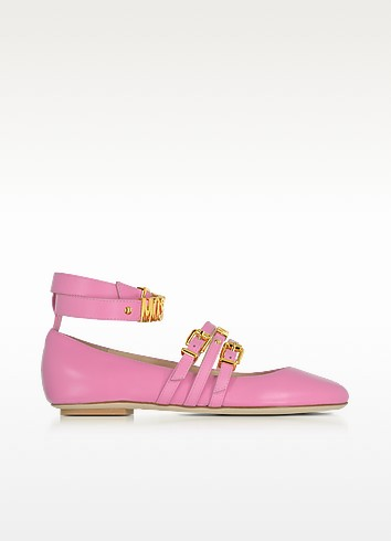 Pink Leather Flat Ballerinas w/Golden Buckles & Signature Logo - Moschino