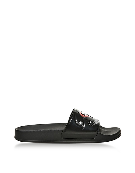 Moschino Black Biker Jacket Printed Pvc Pool Sandals