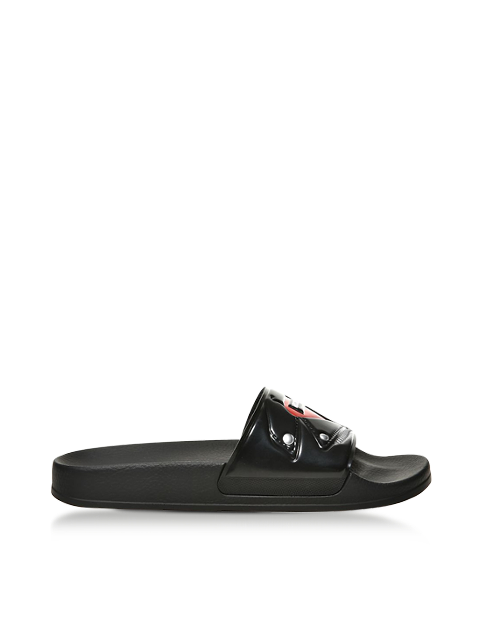 Moschino Shoes, Black Biker Jacket Printed Pvc Pool Sandals