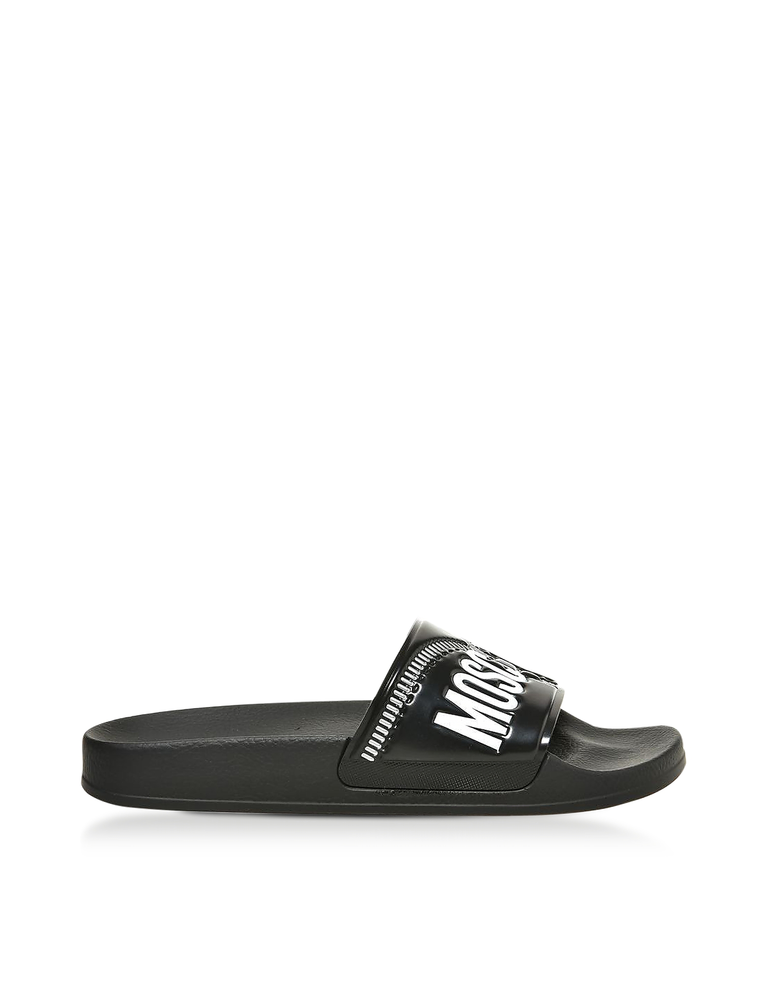 Moschino Shoes, Black Zip Printed Pvc Pool Sandals