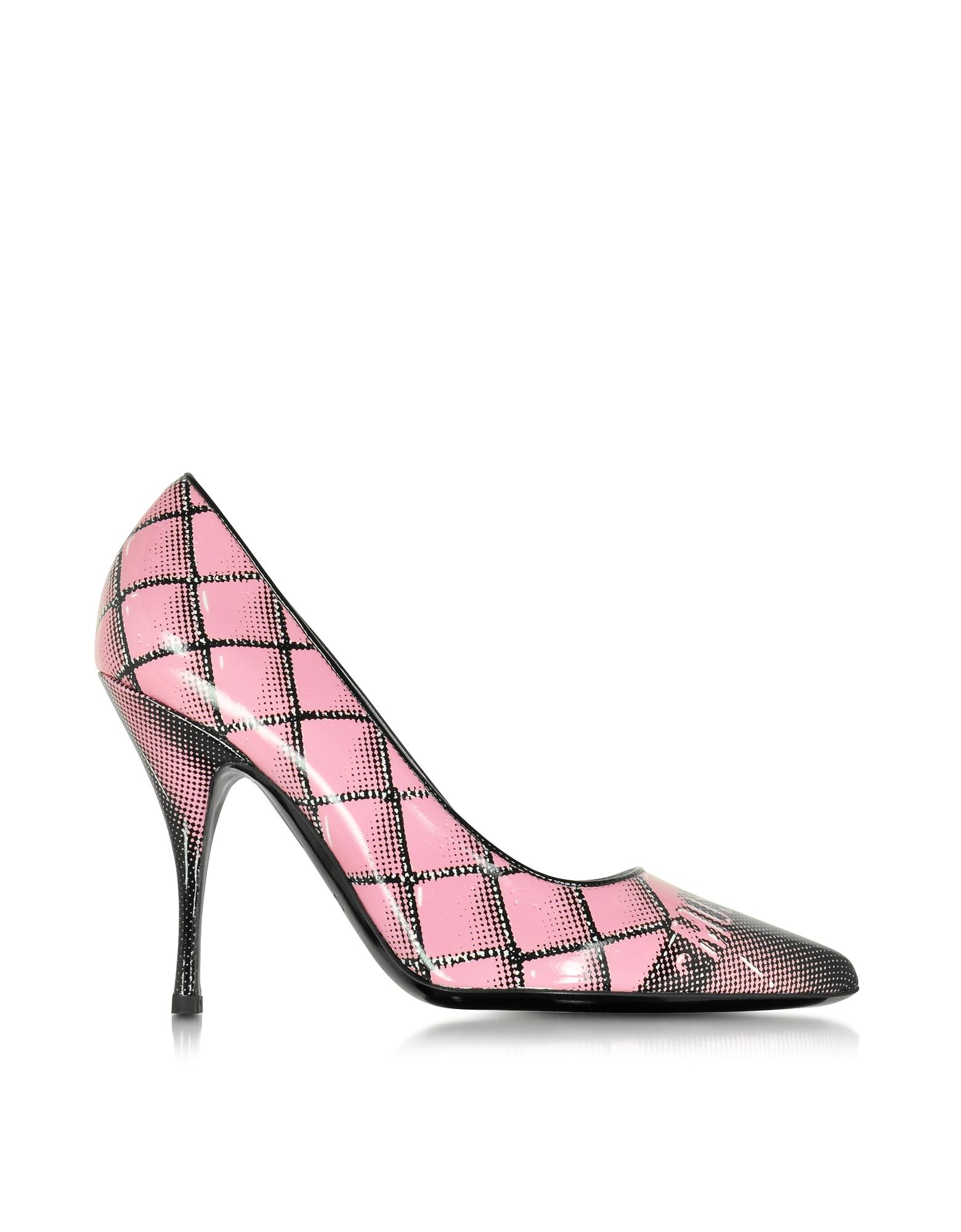 Фото Розовые Туфли Лодочки из Кожи с Принтом. Купить с доставкой