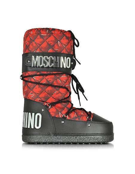 Foto Moschino Moonboot in Nylon Matelassé Rosso Scarpe