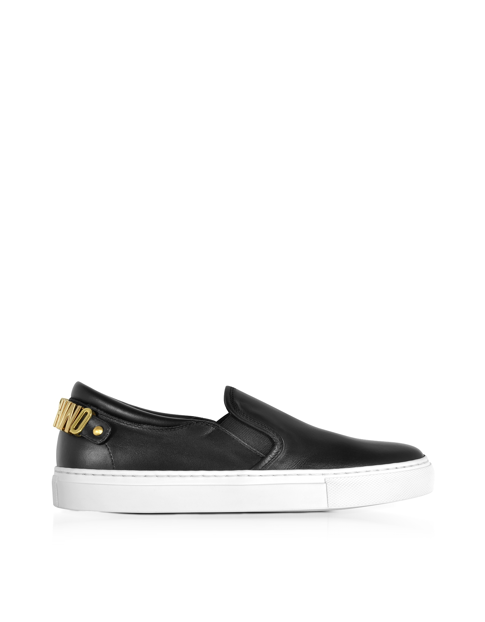 Moschino Shoes, Black Nappa Leather Slip On Sneakers w/Golden Signature