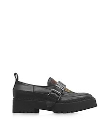 Black Leather and Camouflage Quilted Canvas Loafer w/Rubber Sole - Moschino