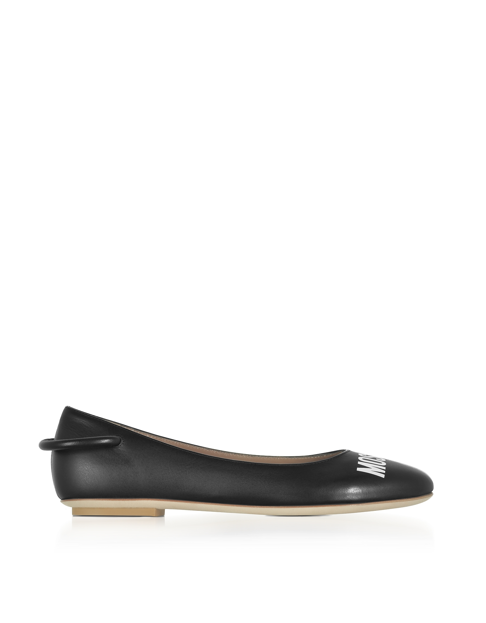 Moschino Shoes, Black Nappa Leather Signature Ballerina