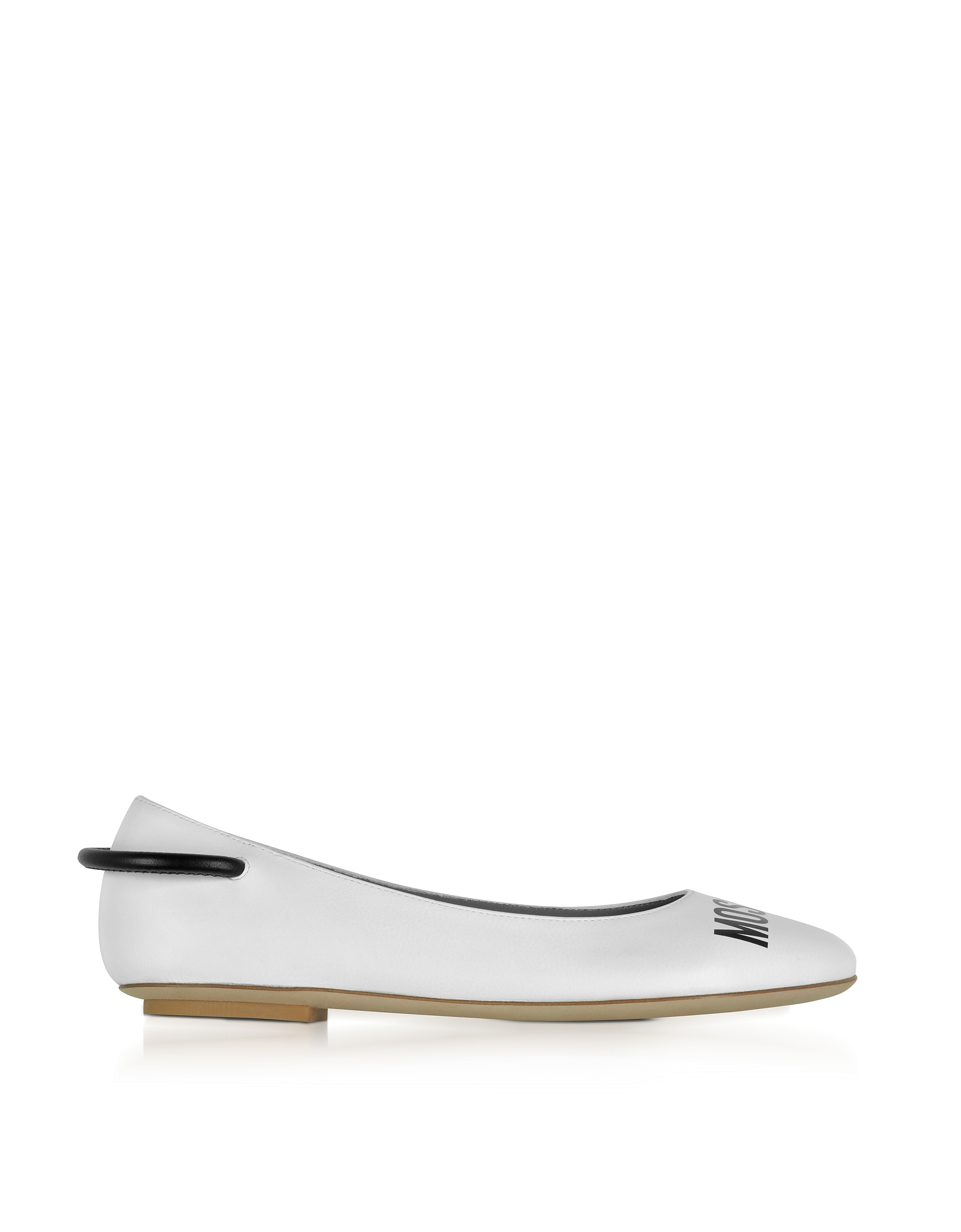 Moschino Shoes, White Nappa Leather Signature Ballerina