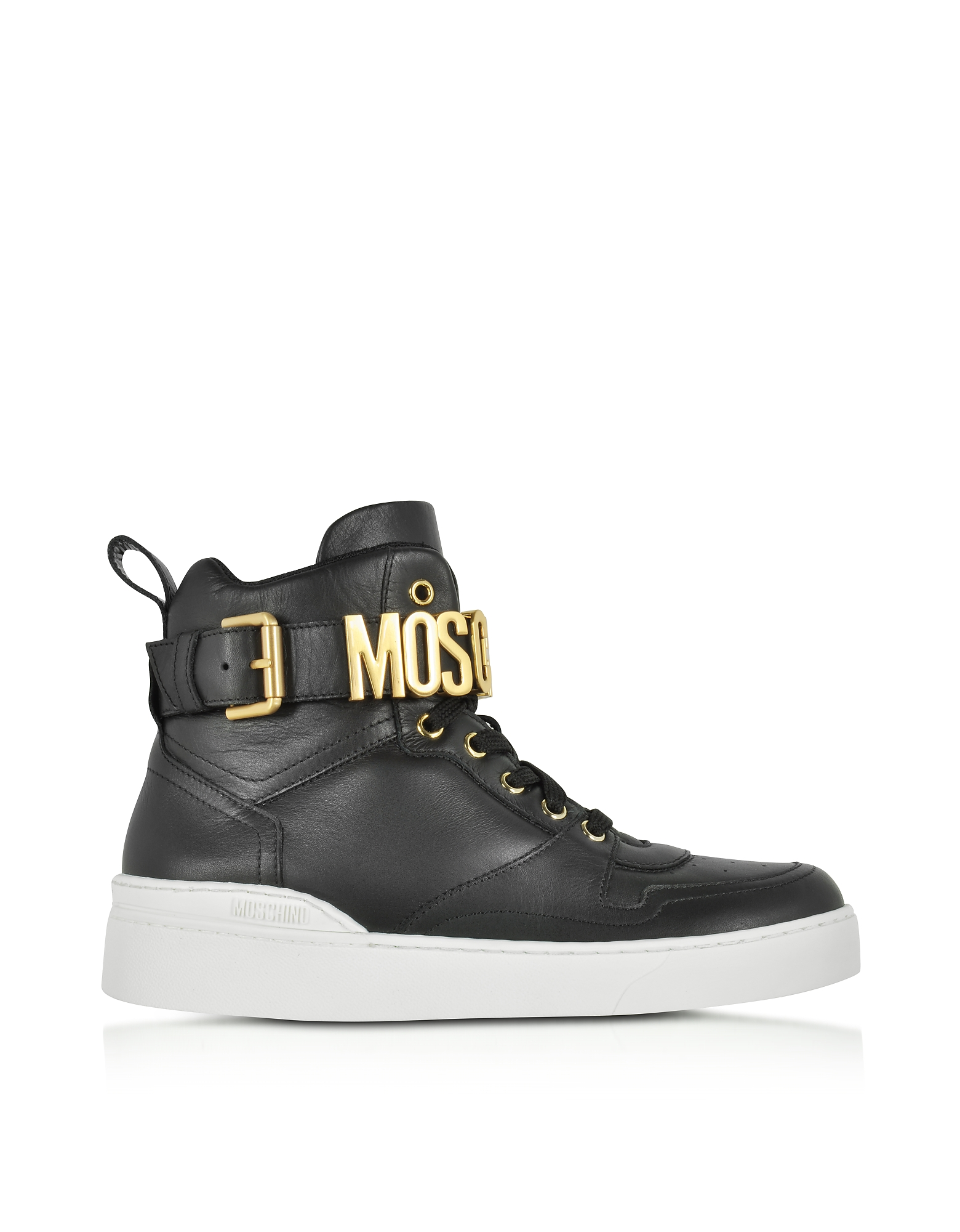 Moschino Shoes, Black Leather High Top Sneakers