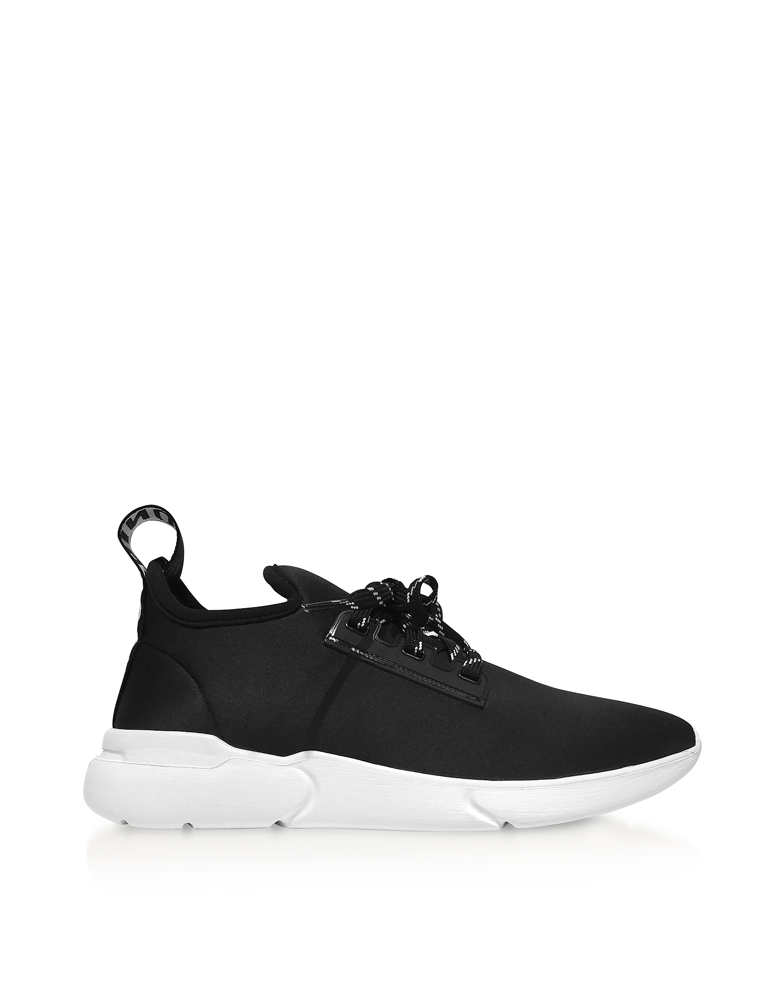 Moschino Shoes, Ettore Black Satin Low Top Sneakers
