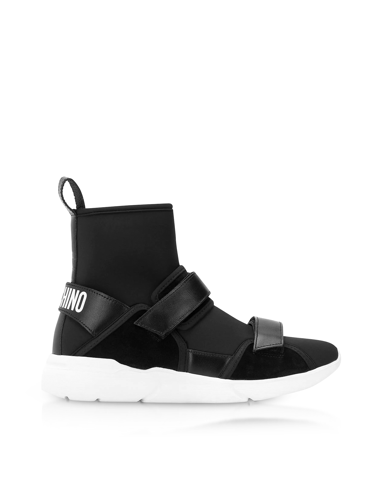 Ettore Black Neoprene High Top Sneakers w/Calf Leather and Suede Upper Straps