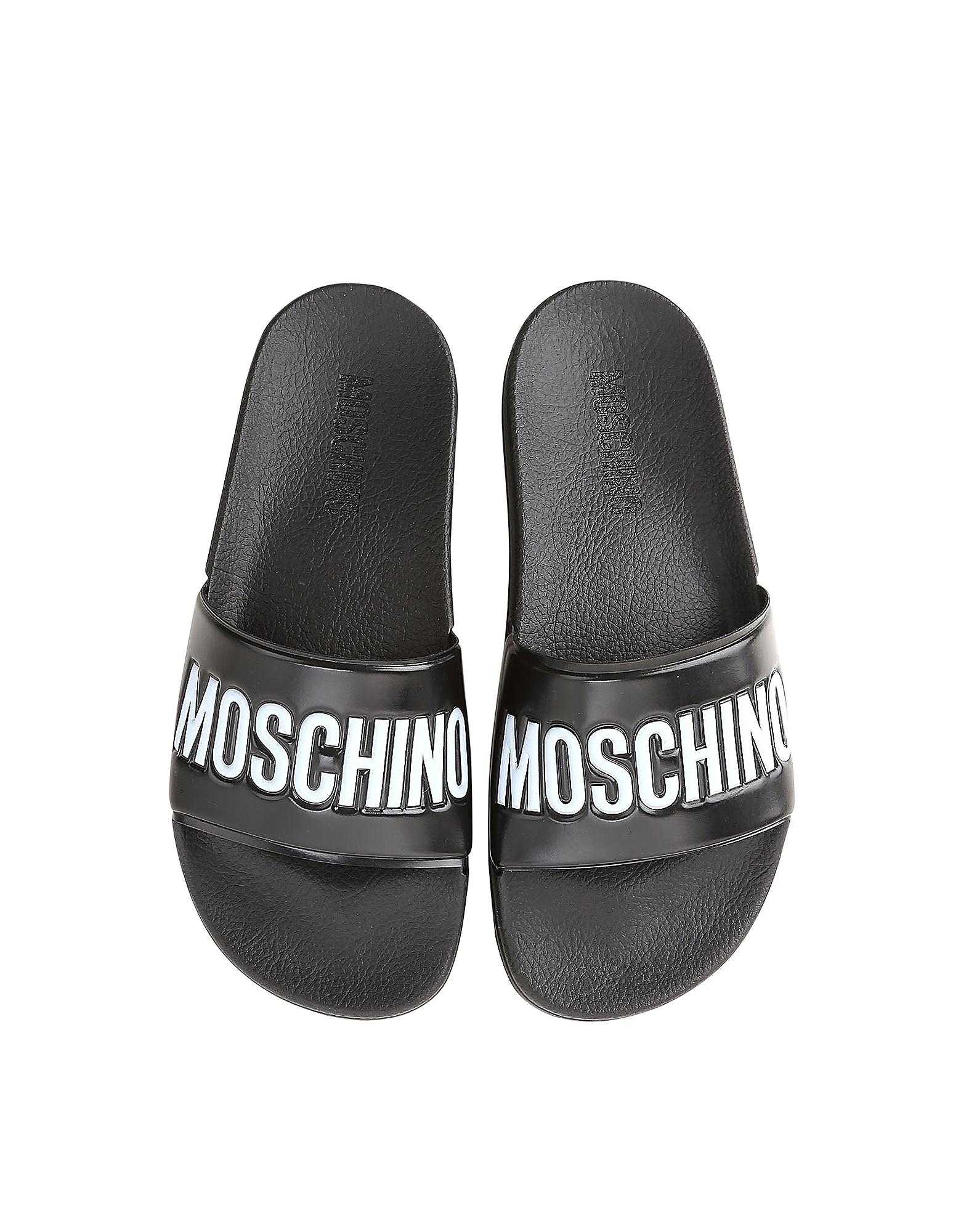 Black Pool Slider Sandals w/White Logo