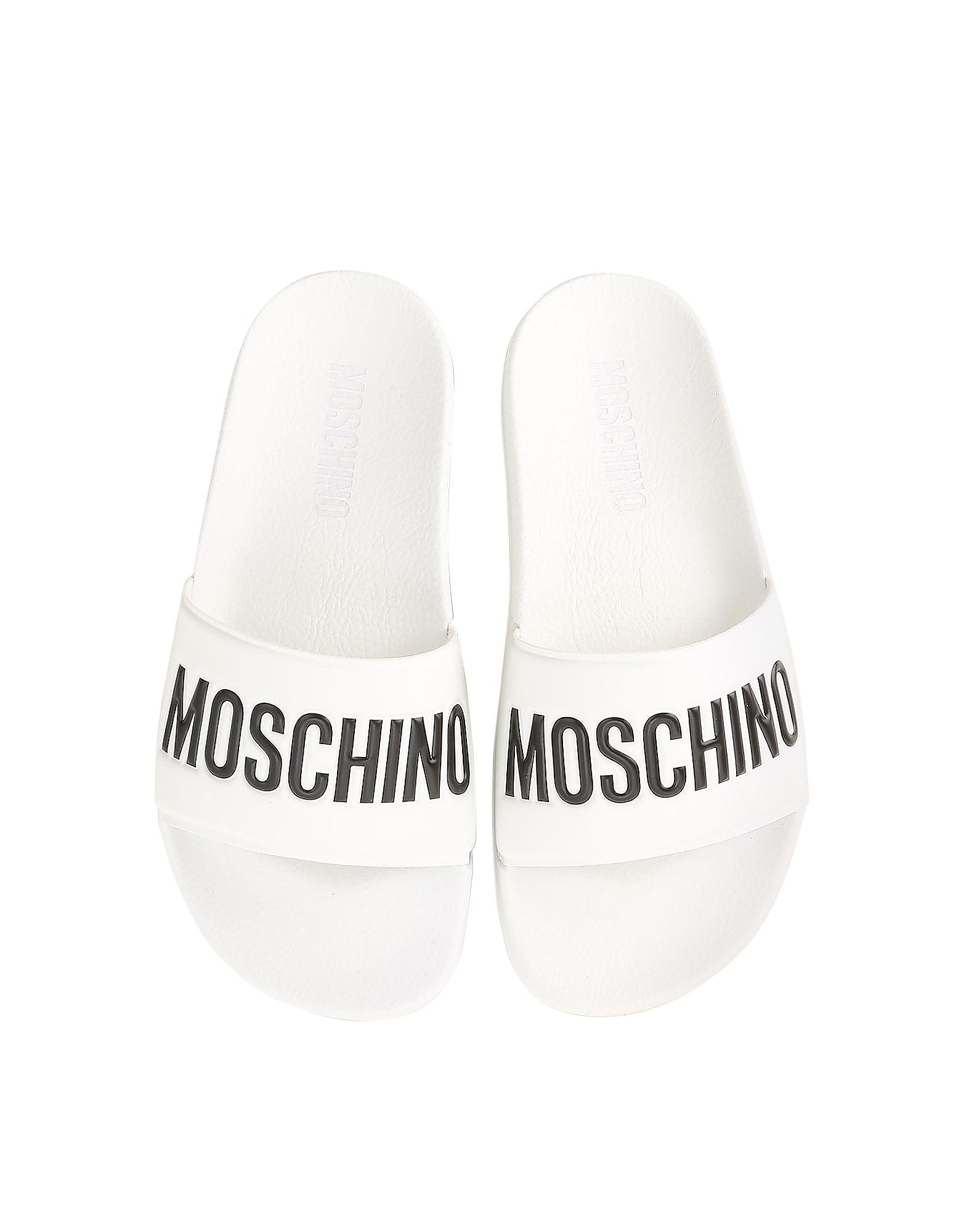 Moschino Shoes, White Pool Slider Sandals w/Black Logo