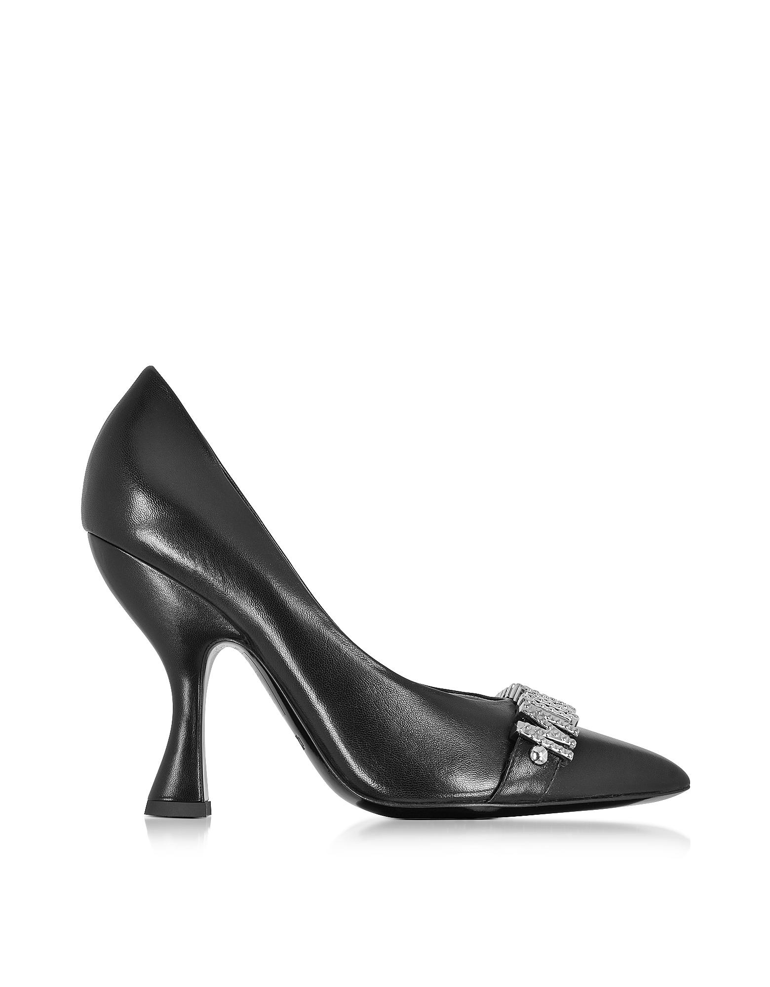 Черные Кожаные Туфли-Лодочки