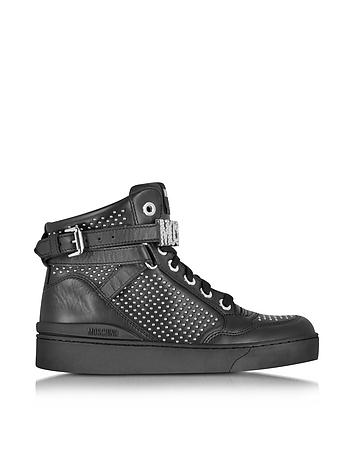 Black Leather Sneaker w/Silver Tone Studs