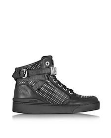 Black Leather Sneaker w/Silver Tone Studs - Moschino
