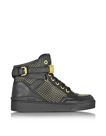 Black Leather Sneaker w/Gold Tone Studs