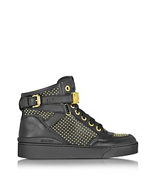 Sneaker High Top in Pelle Nera con Borchie e Logo Dorato - Moschino