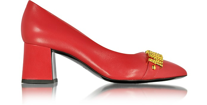Red Leather Mid Heel Pump - Moschino