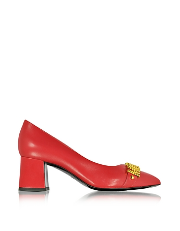 Red Leather Mid Heel Pump