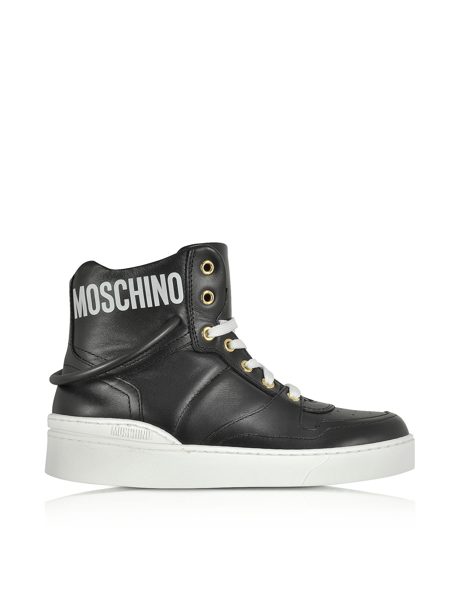 Moschino Shoes, Black Nappa Leather High Top Sneakers