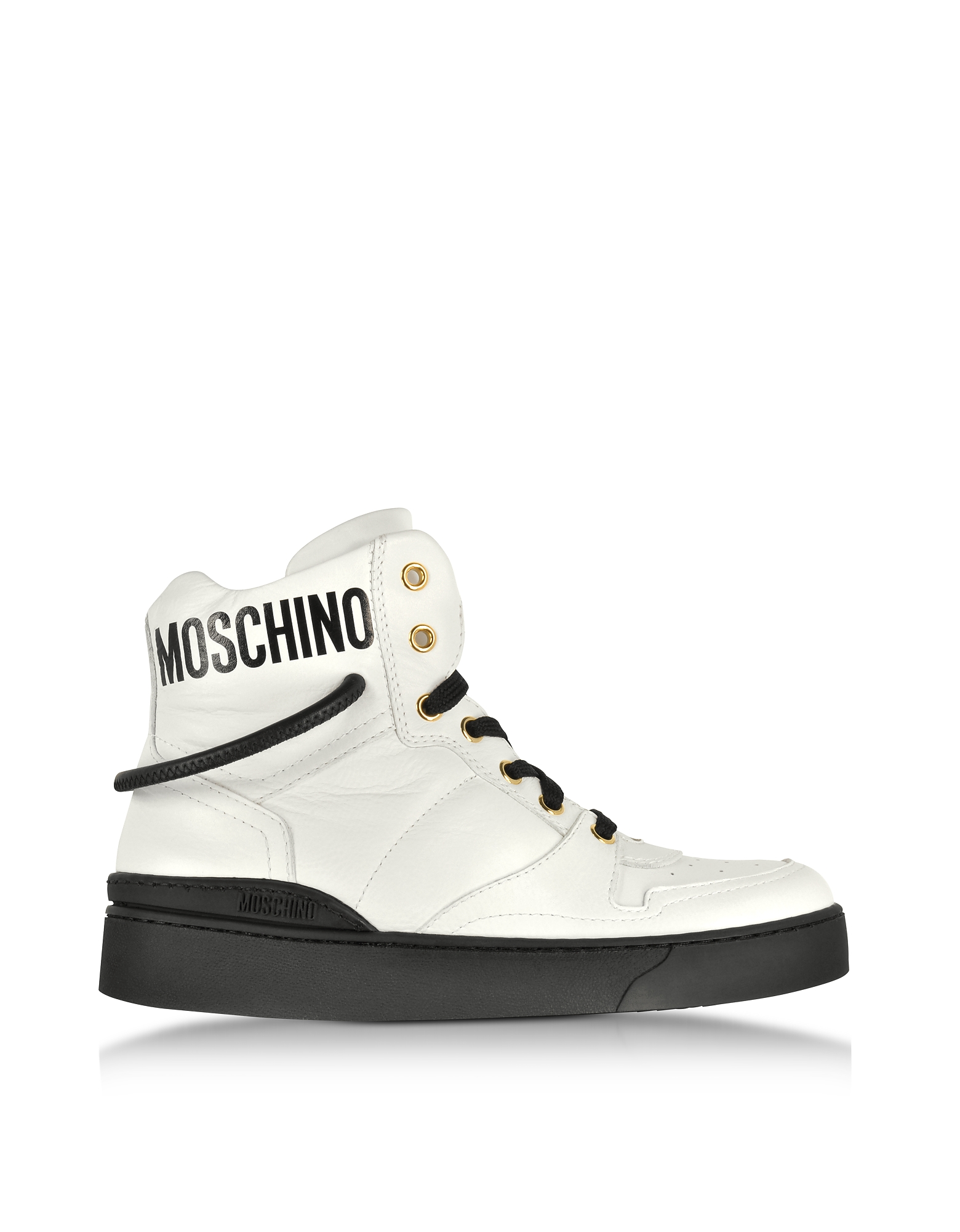 Moschino Shoes, Optic White Nappa Leather High Top Sneakers