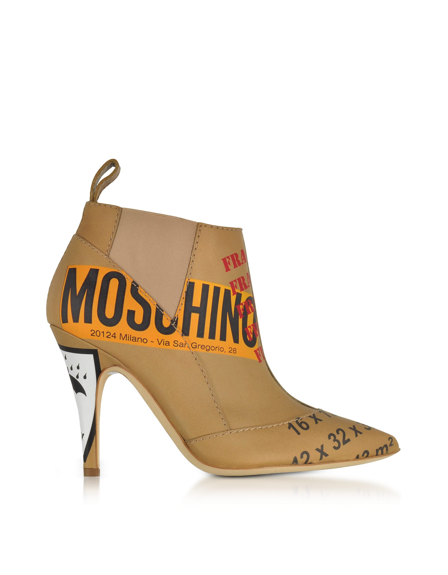 Moschino Shoes, Beige Label Printed Leather Booties