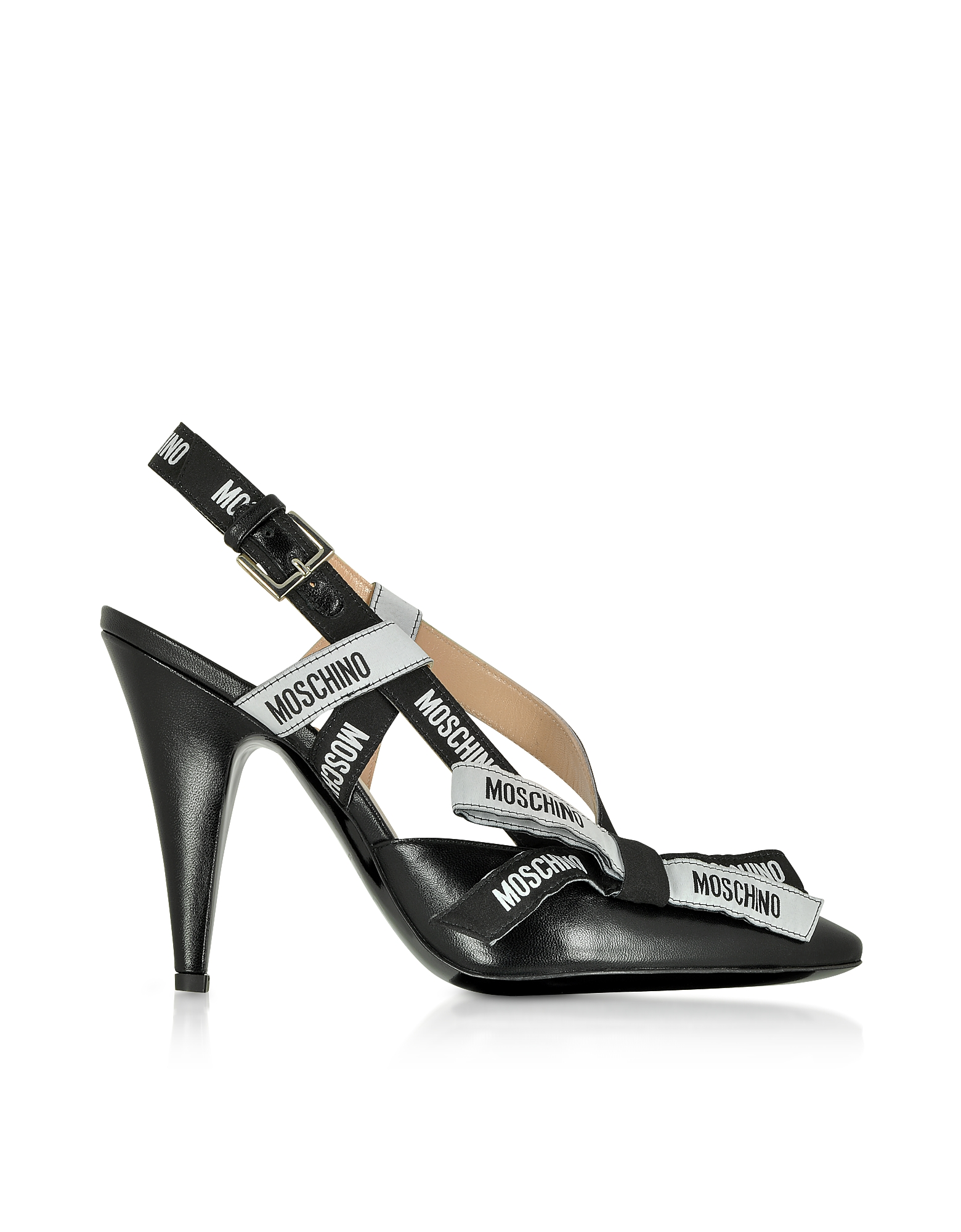 Moschino Shoes, Black Leather Signature Pumps
