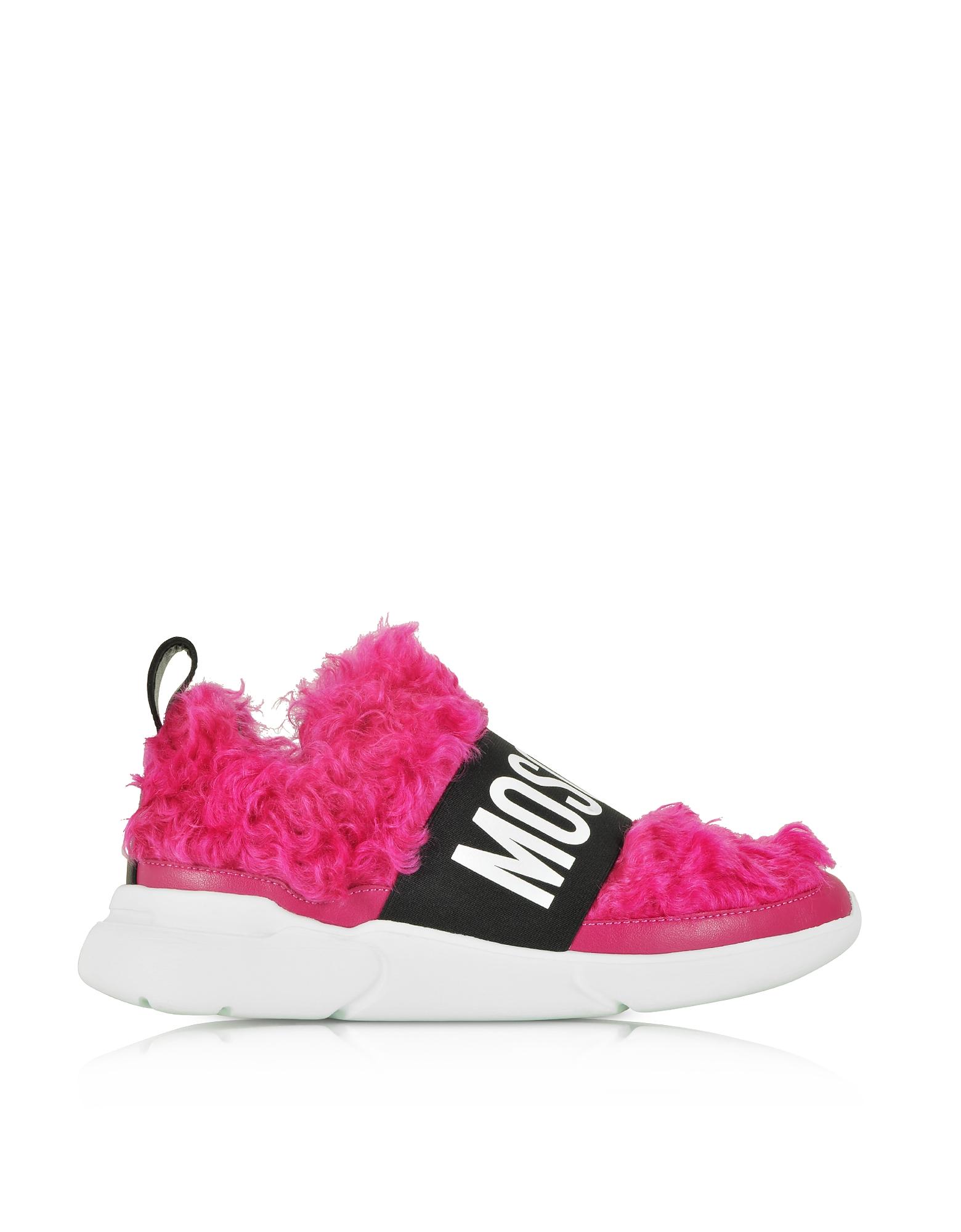 Moschino Shoes, Fuchsia Mohair Women's Ettore Sneakers