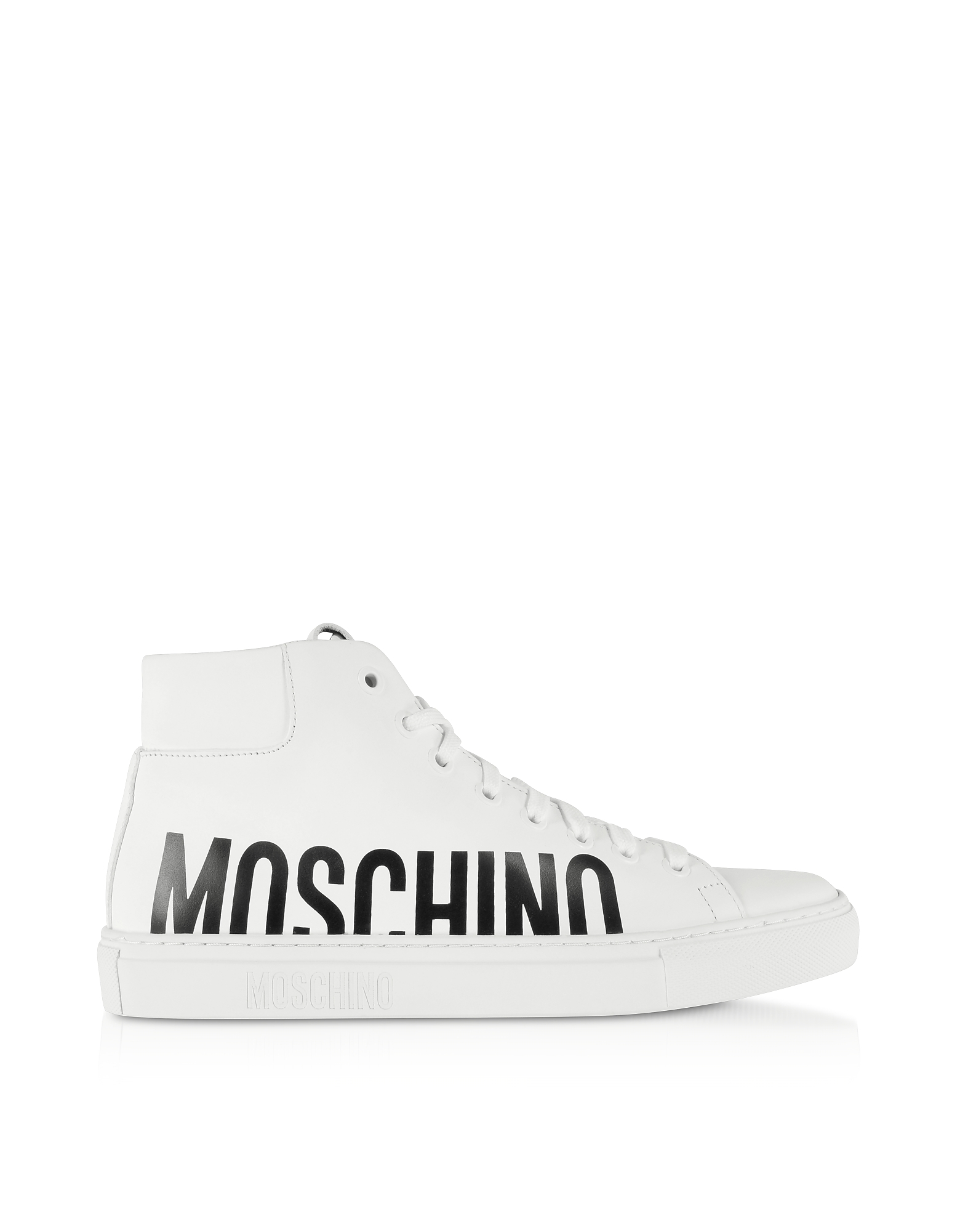 White Leather Mid-Top Sneakers