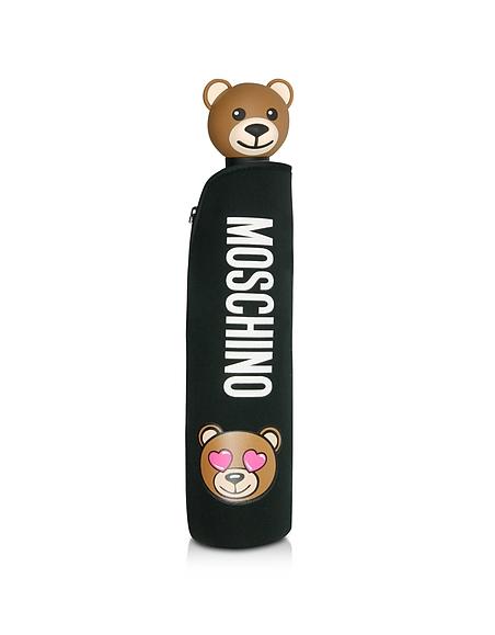 Moschino Toy in Love - Mini Parapluie en Nylon Noir Imprimé