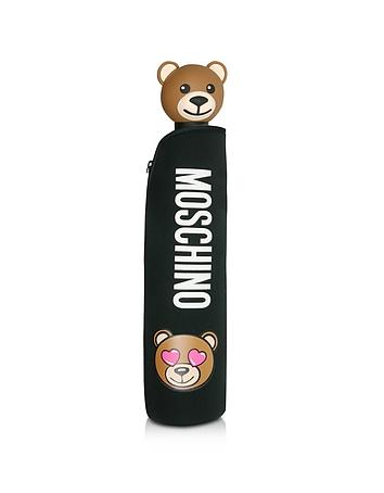 Toy in Love Black Mini Umbrella w/Teddy Handle and Neoprene Pouch