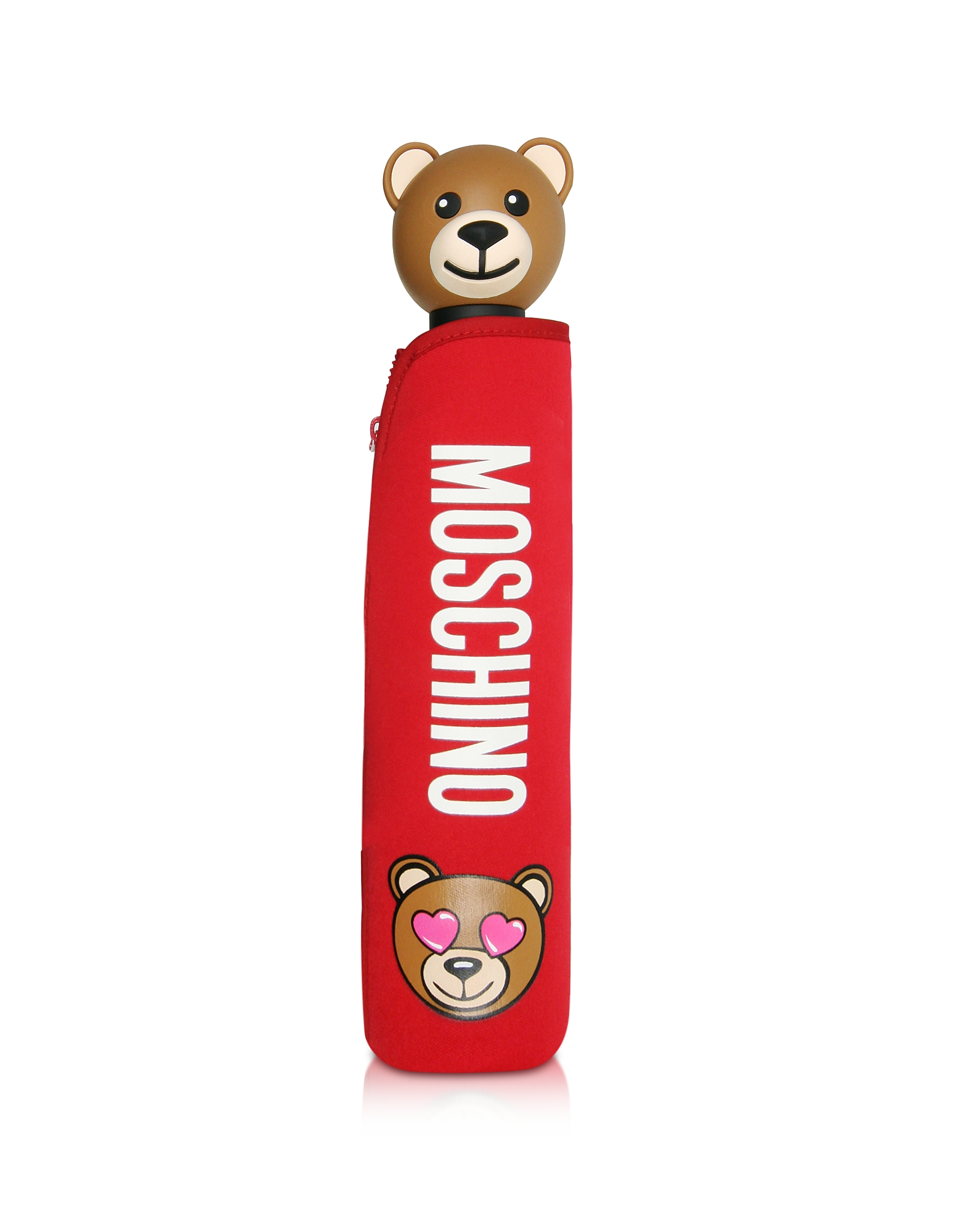Moschino Umbrellas, Toy in Love Red Mini Umbrella w/Teddy Handle and Neoprene Pouch
