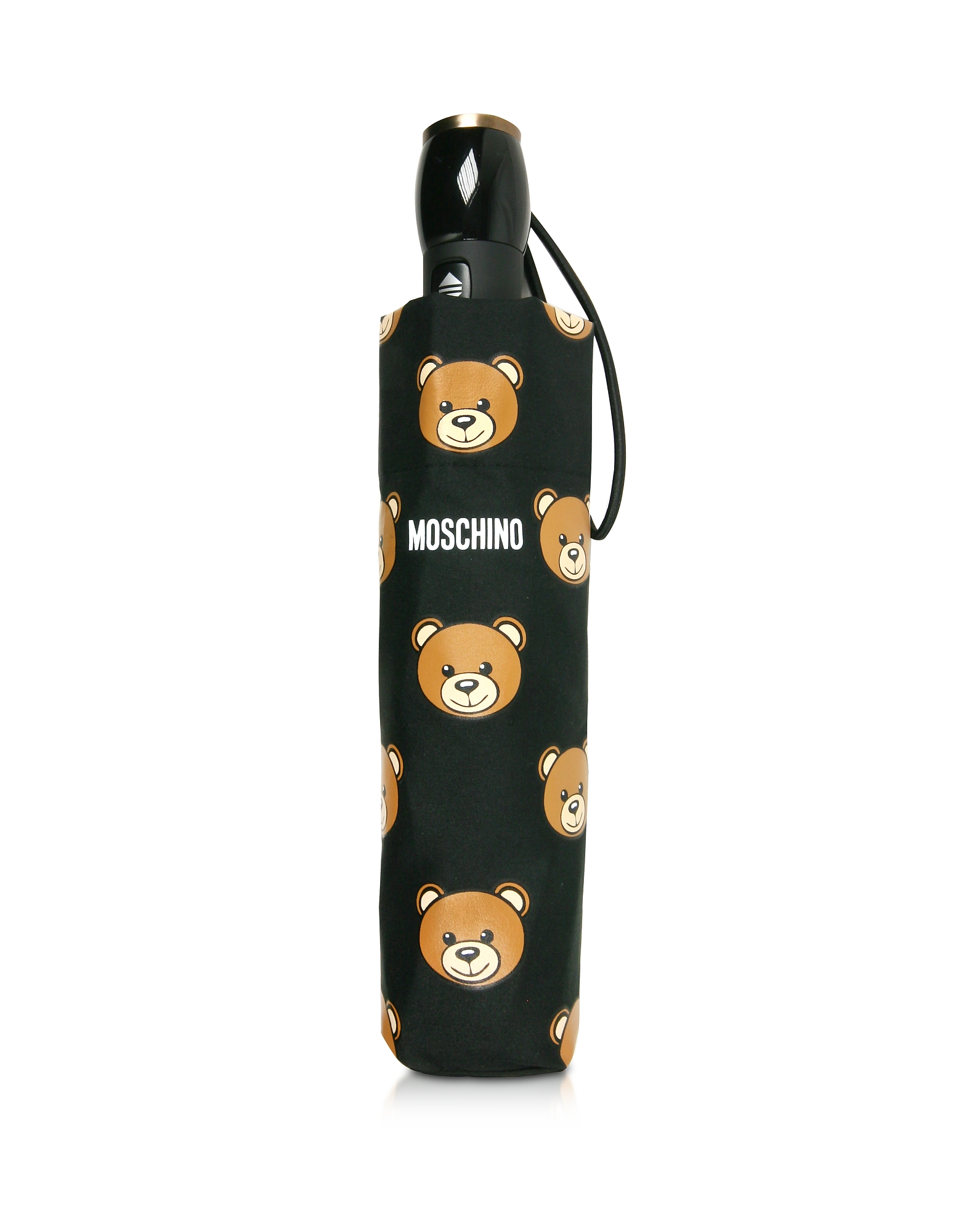 Moschino Umbrellas, Teddy Heads Black Mini Umbrella