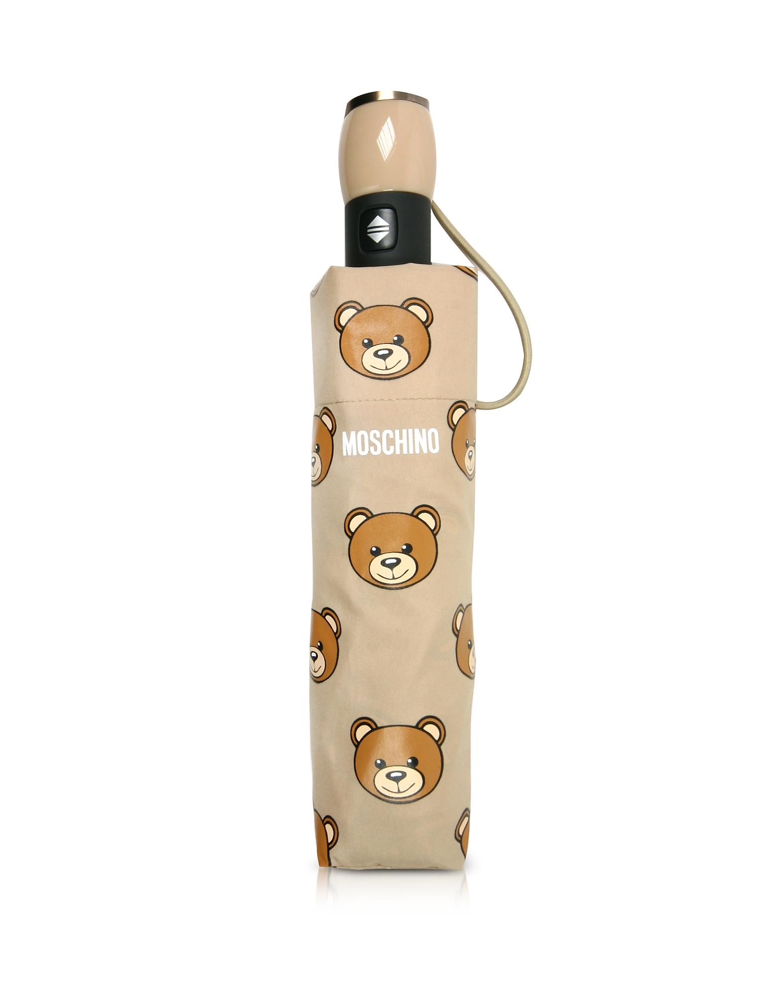 Moschino Umbrellas, Teddy Heads Dark Beige Mini Umbrella