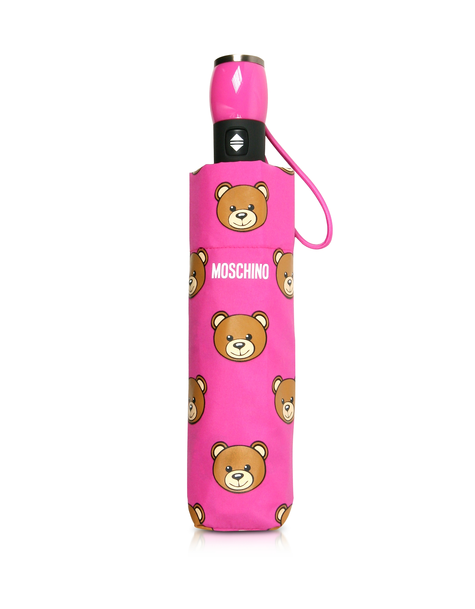 Moschino Umbrellas, Teddy Heads Fuchsia Mini Umbrella