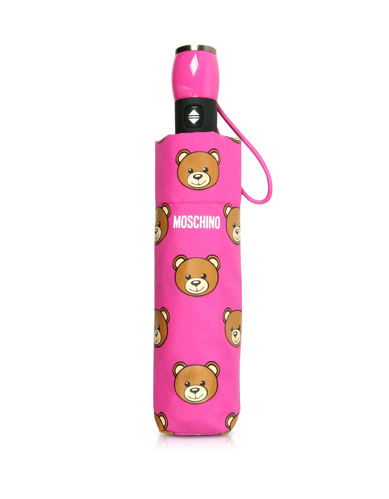 Moschino Umbrellas, Teddy Heads Fuchsia Mini Umbrella