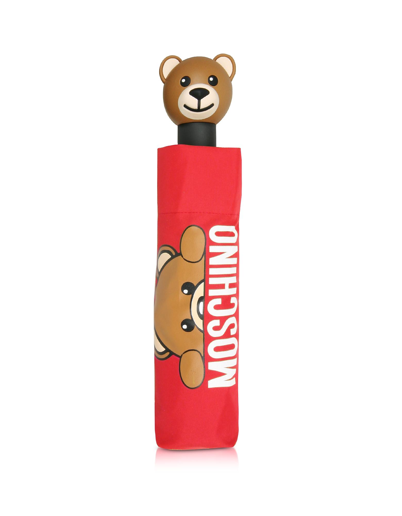 Moschino Umbrellas, Hidden Teddy Bear Red Umbrella