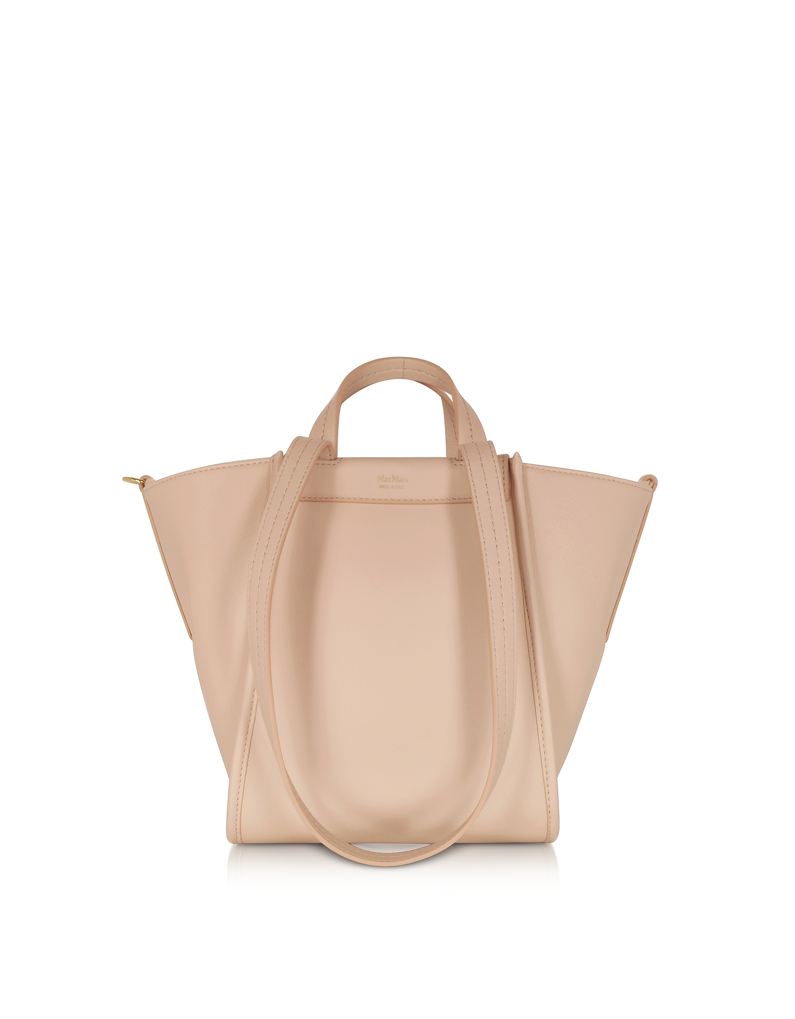 Max Mara Designer Handbags, Pure Leather and Cashmere Reversible Small Tote
