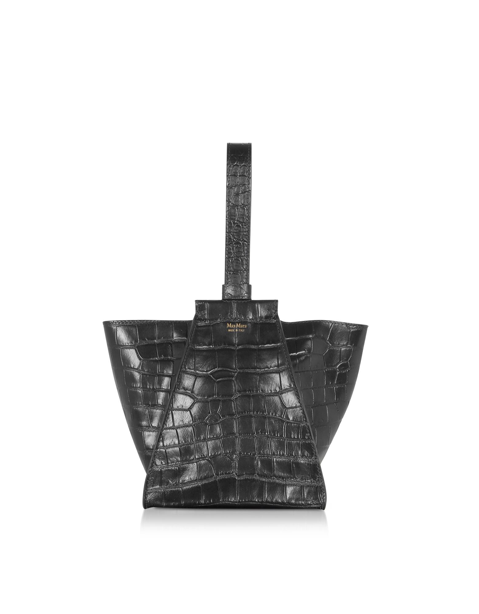 Max Mara Designer Handbags, Anita Extra-Small Croco Embossed Leather Satchel bag