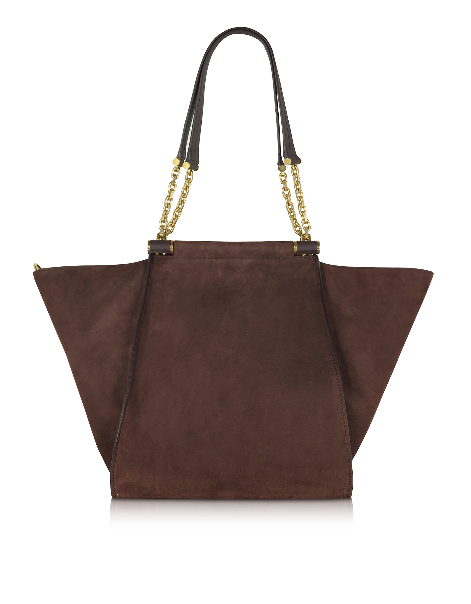 Max Mara Designer Handbags, Chain Large Suede Shoulder Bag w/Chain Straps