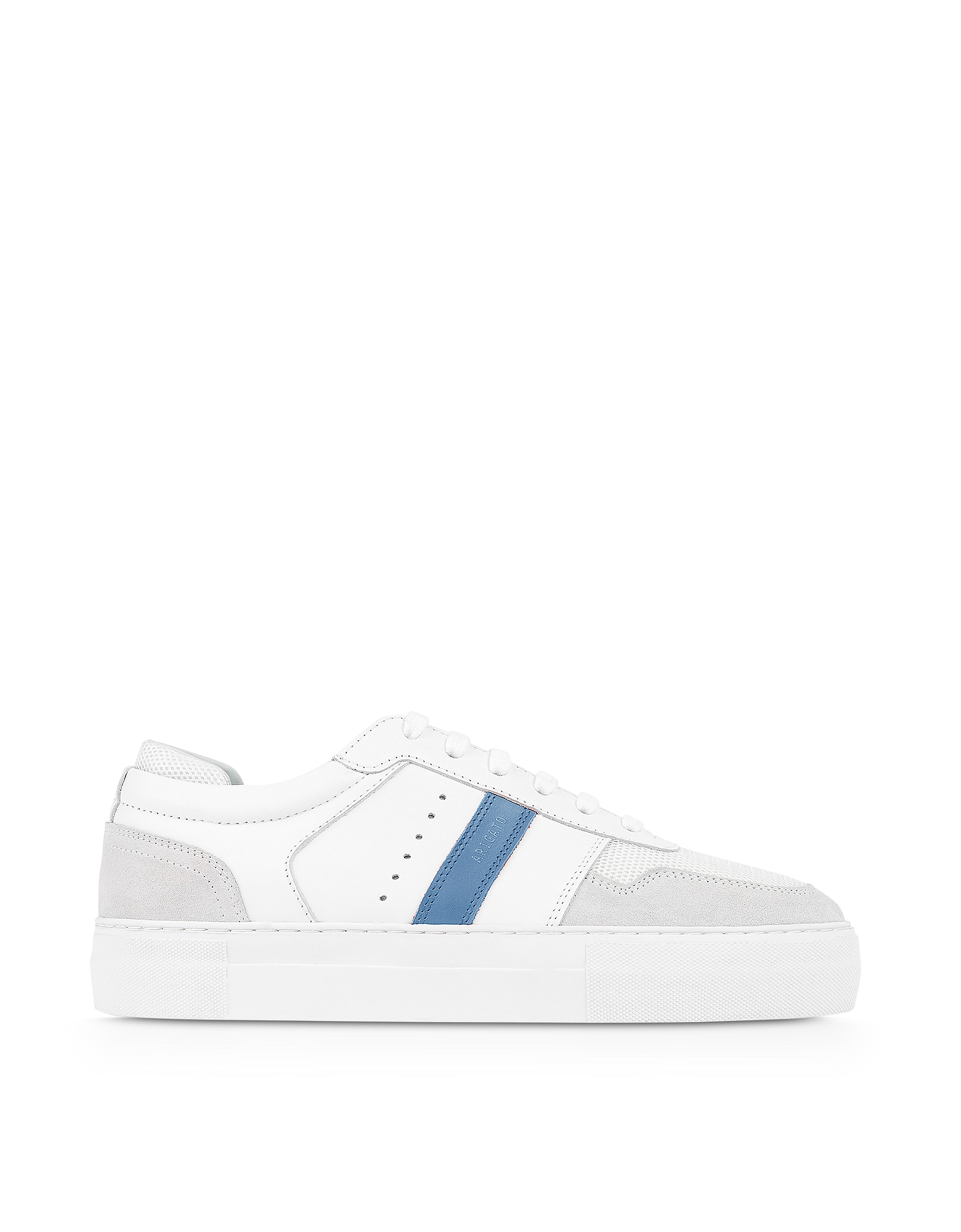 Detailed Platform White/Dusty Blue Leather Women's Sneakers