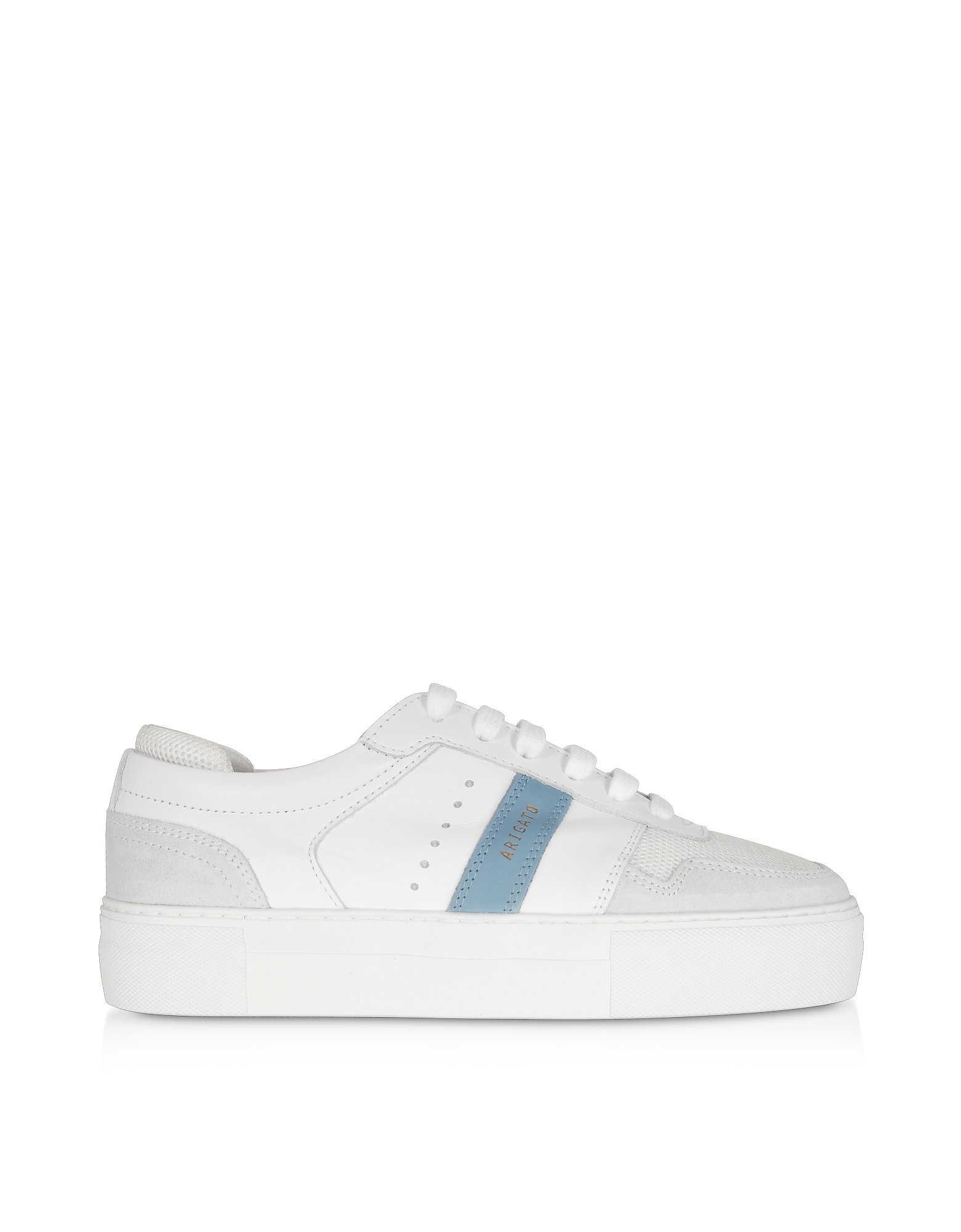 Axel Arigato Designer Shoes, Detailed Platform White/Dusty Blue Leather Women's Sneakers