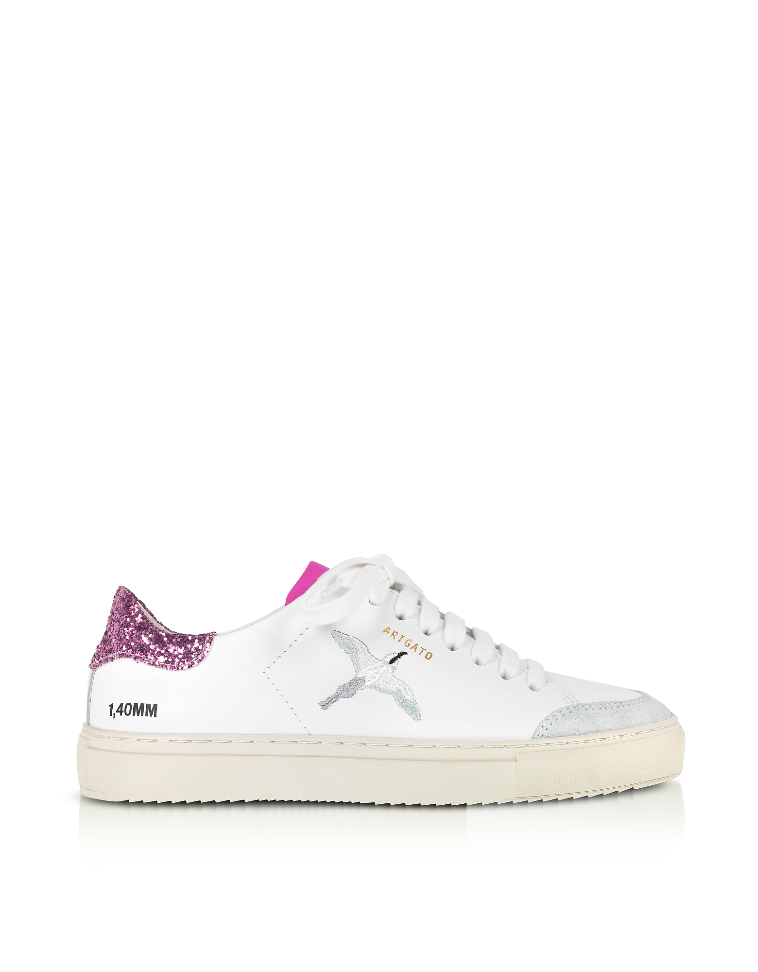 Axel Arigato Designer Shoes, Clean 90 Triple Bird White, Pink Glitter & Fuchsia Leather Women's Sneakers