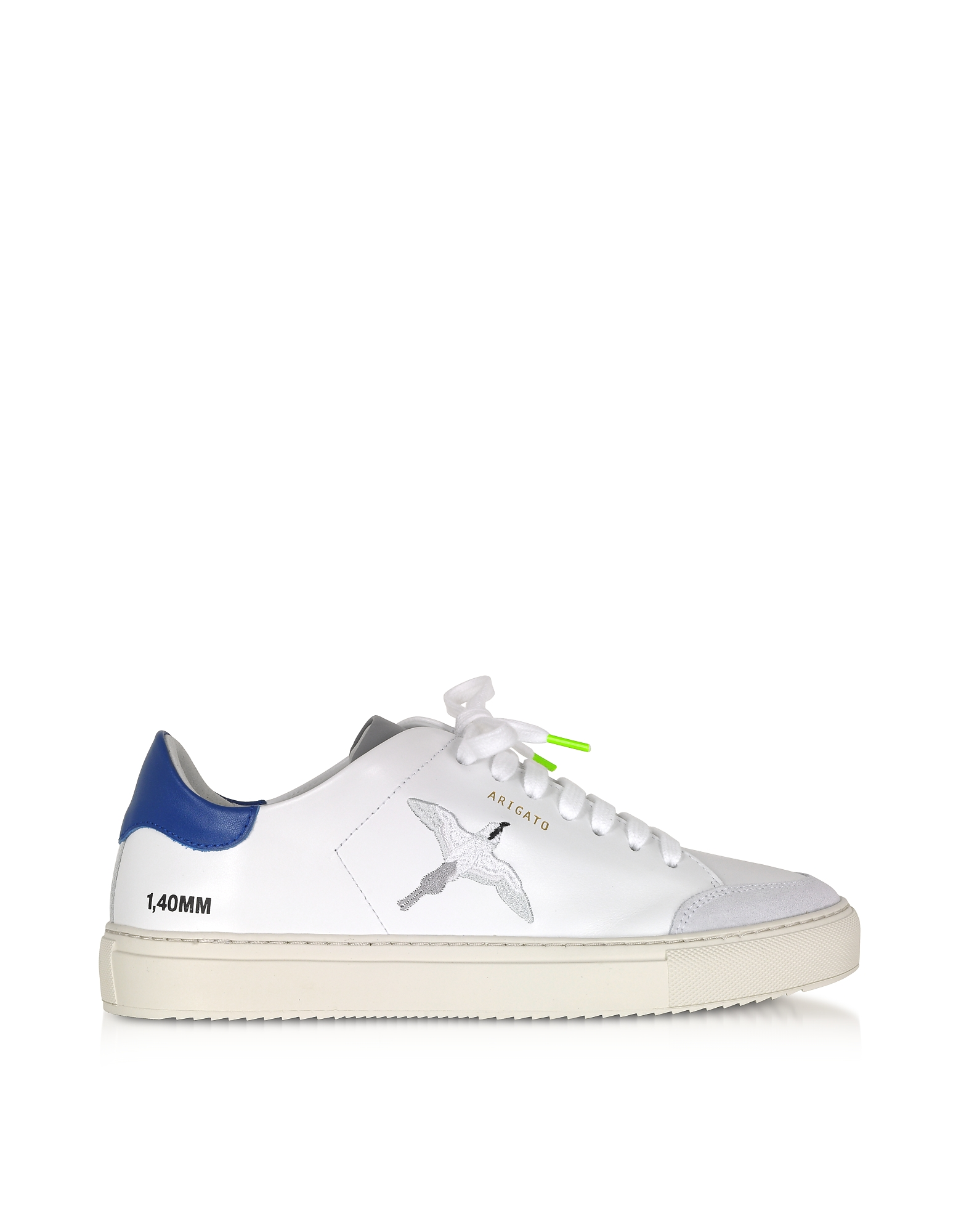 Axel Arigato Designer Shoes, Clean 90 Triple Bird White, Cobalt Blue, Grey Leather Men's Sneakers