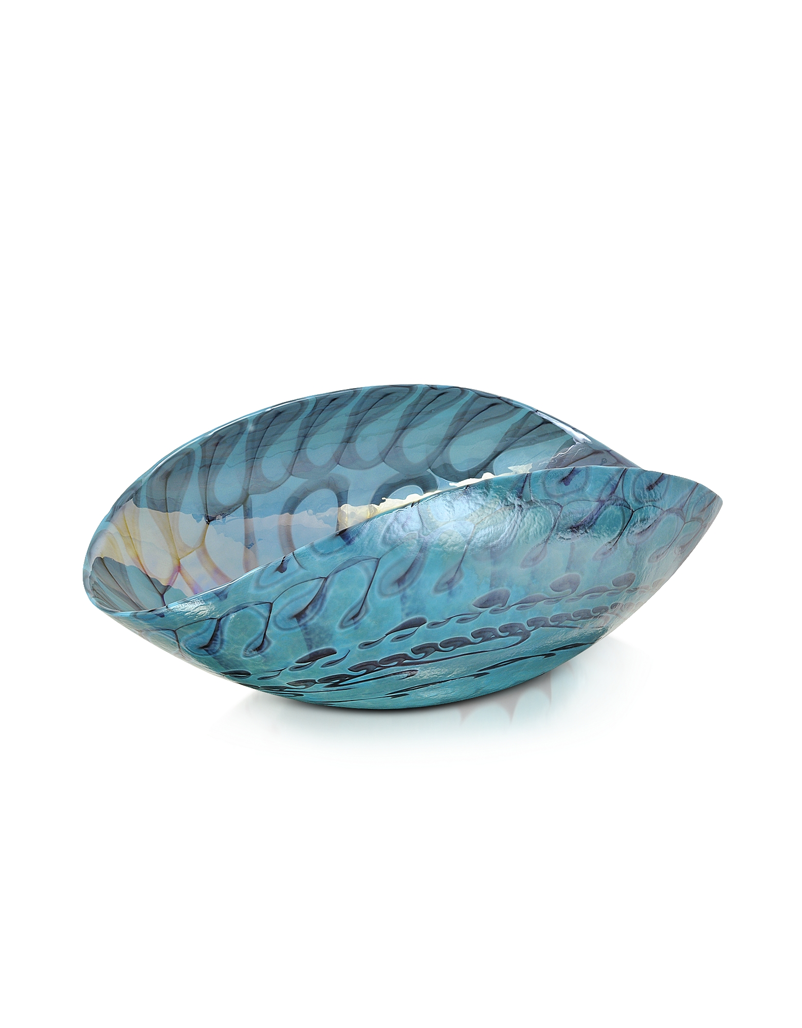 Yalos Murano Decor & Lighting, Belus - Medium Turquoise Folded Murano Glass Dish