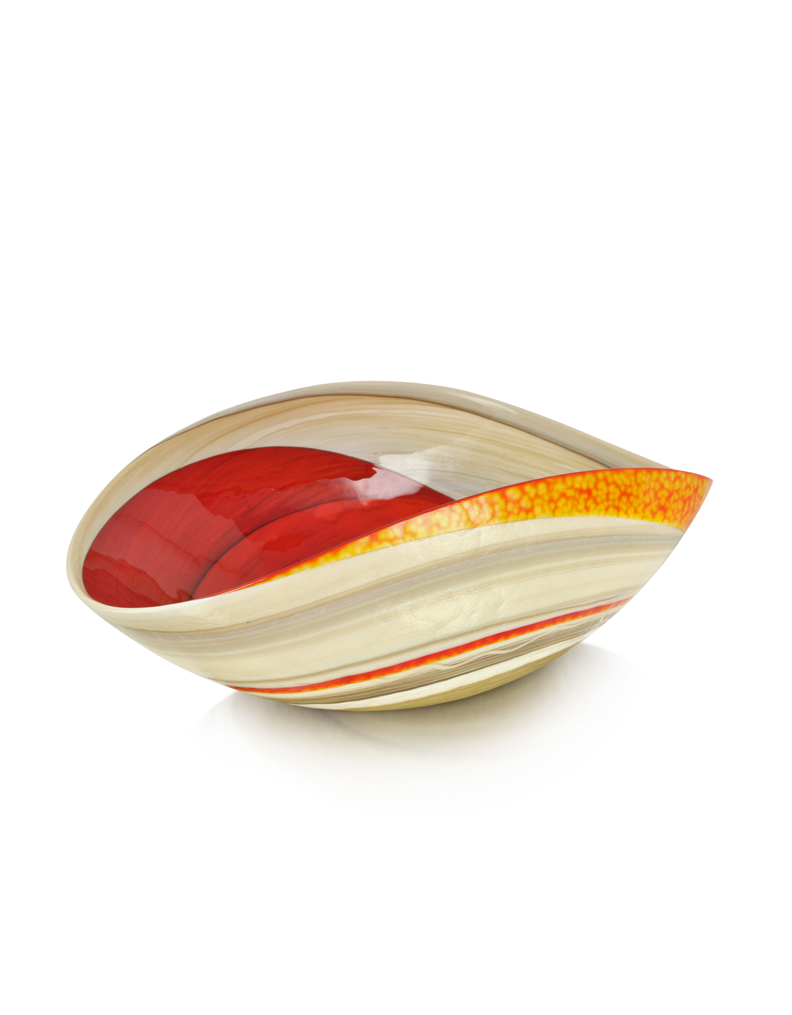 Image of Cartoccio - Medium Red and Ivory Marbled Murano Glass Folded Bowl