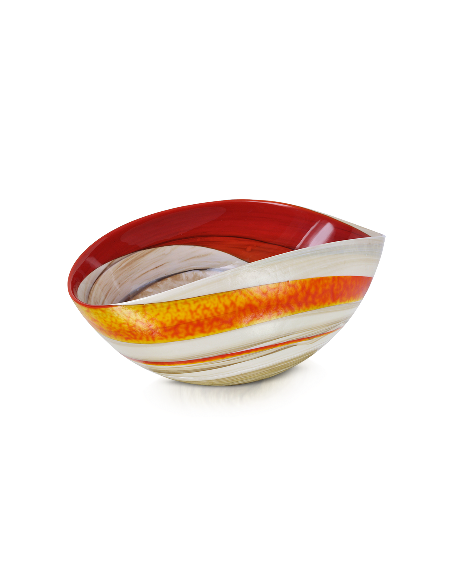 Image of Cartoccio - Small Red and Ivory Marbled Murano Glass Folded Bowl