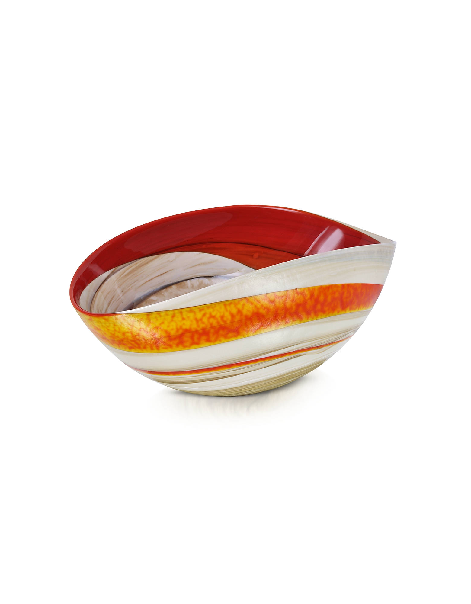 Cartoccio - Small Red and Ivory Marbled Murano Glass Folded Bowl