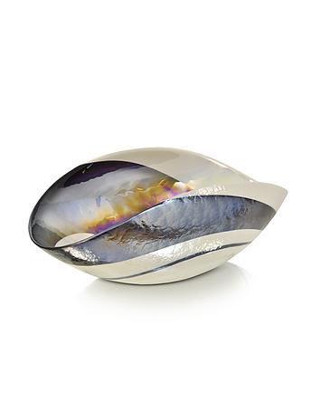 Yalos Murano - Cartoccio - Large Black and Ivory Marbled Murano Glass Folded Bowl